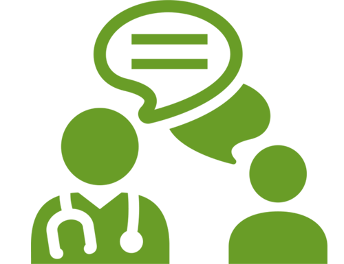 Green icon of provider talking with patient